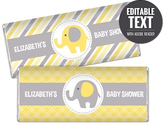 Elephant Chocolate Bar Wrappers - Yellow and Grey Chocolate Bar Wraps - Printable Baby Shower Favors - Editable Large Candy Bar Labels