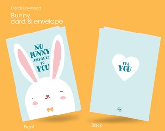 Easter gift card etsy easter printable card bunny card gift or present for wife husband love negle Images