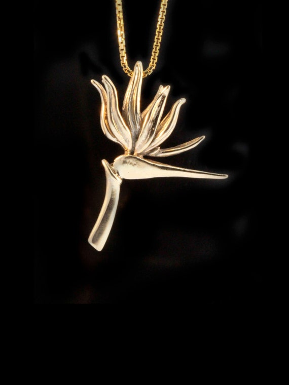 Flower necklace gold bird of paradise pendant 14k gold flower like this item aloadofball Images