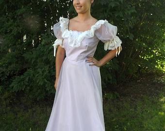 Formal Gown Princess Pale Purple Lavender Lace Vintage Prom Dress S
