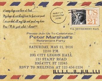 Vintage Mail Letter Retirement Invitation