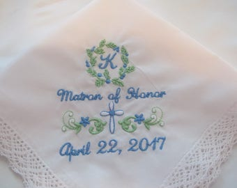 Embroidered Wedding Handkerchief for the Maid of Honor