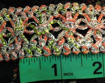 Trim, Sparkle, Open Weave, Ribbon, Orange, Green, Non-Elastic