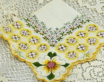 Vintage Hankie Gold and White, Hankie to Frame  #R-28