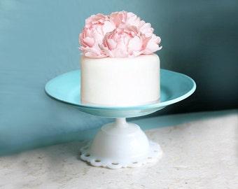 Turquoise Cake Stand Cupcake Stand / Handcrafted Dessert Pedestal for Cake Pops Cake Truffles Cake Balls / Aqua Blue Shabby Chic Home Decor