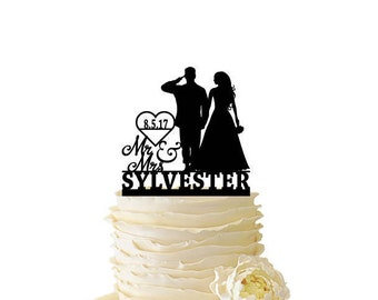 Mr. Mrs. Saluting Soldier With Bride With Name and Date or Initials - Wedding - Anniversary - Acrylic or Baltic Birch Cake Topper - 147