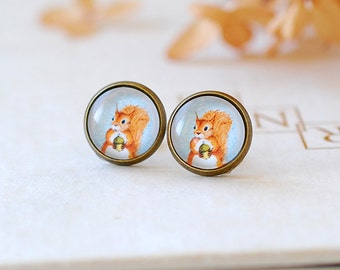 Squirrel Earrings Red Squirrel and Acorn Post Earrings Antiqued Brass Bezel Domed Glass Stud Earrings Fall Jewelry Woodland Squirrel Jewelry