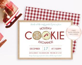 Christmas Cookie Exchange Invitation, Christmas Party Invitation, Christmas Invites, Cookie Exchange Invite, Holiday Cookie Exchange [539]
