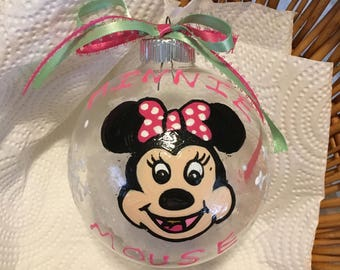 """Minnie mouse 4"""" glass ornament"""