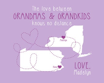 Grandma Birthday Gift, From Grandkids, Daughter, Mother in Law, Canvas Art, Maps, Long Distance, Moving Away, Grandmother, Nana, Cute | WF2