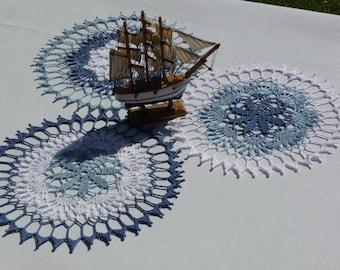 Set of 3 doilies crochet handmade cotton blue and white.