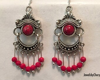Red Crystal Chandelier Earrings / Bohemian Earrings / Jewelry / Women's Gift Ideas / Silver Earrings / Red Drop Earrings / Chandelier