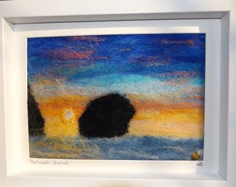 Unique Handmade Needle Felted Art Painting of sunset at Portreath Beach in Cornwall