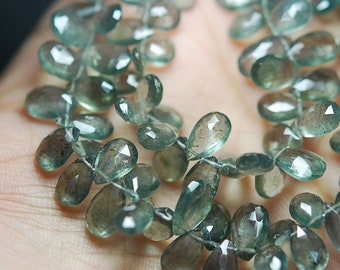 "Moss Aquamarine Faceted Pear Briolette Gemstone Loose Beads Strand 9"" 6mm 8mm - Jewelry Making"
