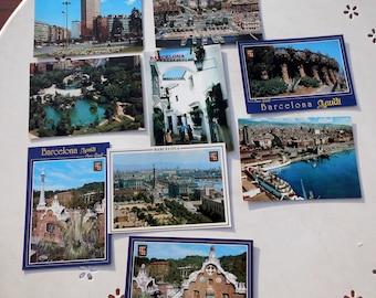 Lot of nine vintage postcards of Barcelona (Catalonia)