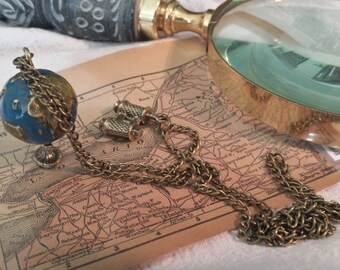 Globe Charm, with Bronze Telescope Pendant Chain Necklace -Handmade