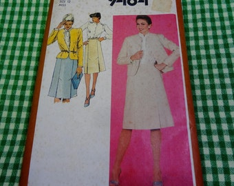 UNCUT Simplicity #9484 Misses Slim Skirt, Blouse and Lined Jacket Pattern Size 12 Bust 34 Waist 26-1/2  1980