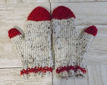 Men's Mittens, Grey and Red Mitts, Extra Large Mittens