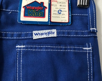vintage wrangler toddler boy's royal blue painter pants straight leg jeans size 6 deadstock NWT 70s made in USA