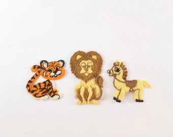 Animals Appliques Patches Embellishments Lot of 3 Sewing Notions Supplies Lion, Tiger, Horse