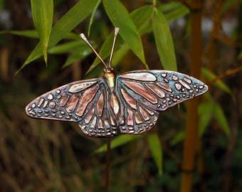 Monarch butterfly copper garden stake