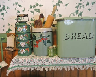Enamelware Granite ware Chinese Lunchbox Stackable Storage Green