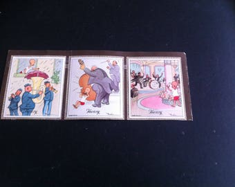 Vintage 6 (3 on each side) Henry cigarette card, Carl Anderson 1935/6  1 x5th  2x4th series(girl on swing and umbrella over tuba)and  3x3rd