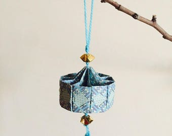 Blue Lantern origami suspended for Chinese new year