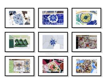 Gaudi Wall art, Gaudi prints, Spanish tiles, Barcelona, Park Güell, Wall art Set, set of 9, Gallery wall prints, Mosaic Gaudi