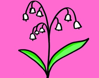 Lily of the Valley greeting card, any occasion, blank card