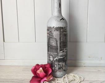 decoupage bottle/ wedding centre piece /wedding / hand paint / painted/ candle holders /candle / home decoration /vintage / vintage decor