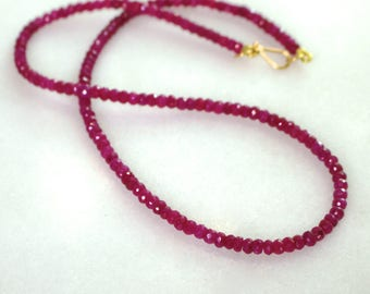 Raspberry Ruby Sparkling Simplicity Necklace in gold fill...