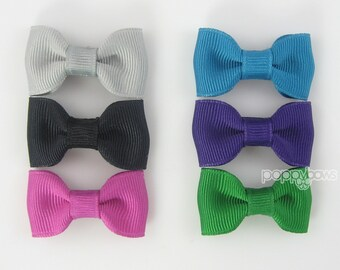 Small Baby Hair Bows 6 Pack of Pinched Bows On Mini Snap Clips for Fine Hair Newborn to Toddler - Non Slip Gray Purple Black Teal mp