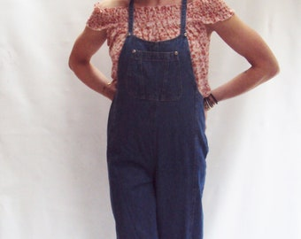 Dark Blue Denim Overalls / Straight Leg Jeans / Wide Leg Jeans / High Waist Overalls / small med