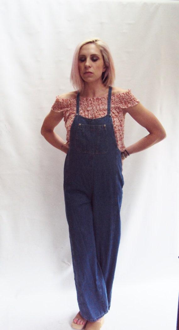 Dark Blue Denim Overalls / Straight Leg Jeans / Wide Leg Jeans / High Waist Overalls / small med