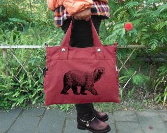 Red canvas shoulder bag tote messenger bag women, screen print handbag tote bag feminist adult diaper cross body bag personalized gift