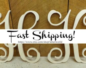 """SALE!!  Two 12"""" Unpainted Wooden Letters - Vine Script Initial - Monogram Wall Hanging - Monogram Door Hanger"""