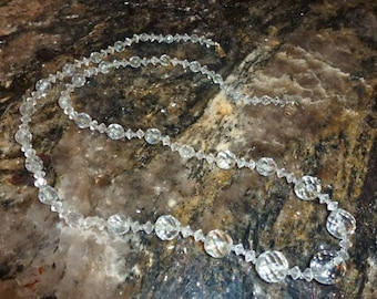 1930s 1940s Cut Crystal Beaded Necklace
