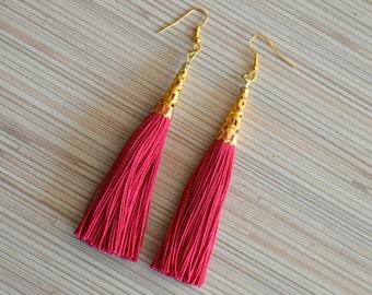 Burgundy Tassel Earrings Minimalist Earrings Gold Dangle Earrings Boho Chic Earrings Bohemian Jewelry Brass Earrings Fall Jewelry Fall Gift