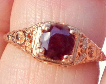 Sz 6,Solid 14k Rose Gold, Victorian, Art Nouveau Style, Garnet Ring, Gold Filigree,Engagement, Promise Ring, Ladys Gift, New Setting & Stone
