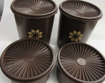 Vintage Brown Tupperware Canister Set of 4