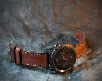 Fenix 3 and 5 Leather Watch Strap - Whiskey