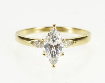 14K Three Stone Marquise Cut Travel Engagement Ring Size 8 Yellow Gold