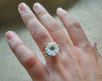 Adjustable Daisy Ring - Rings - Ring Women - Jewelry - Ring Accessories original- woman - Porcelain - Margarita - Handmade