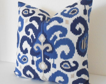 Navy blue ikat decorative pillow cover