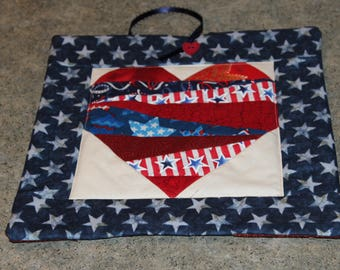 Blue Stars Crazy Heart Pieced 10  X 10 Handmade Quilted Wall Hanging