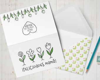 Dia de las Madres printable card, Spanish Mothers Day card, Set of coloring cards for kids, DIY coloring craft for mom, Unique gift for mom