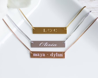 Name Necklace, Bar Necklace, Custom Coordinates, Sorority Necklace, Custom Name, Monogram Necklace, Greek Letters, Initials, Bridesmaid Gift