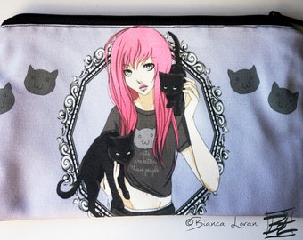 Cats Are Better Than People Zippered Pouch - Clutch bag Purse Wristlet - Cosmetic pencil school - Bianca Loran Art