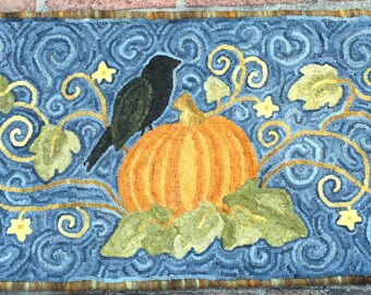 In the Pumpkin Patch Hooked Rug